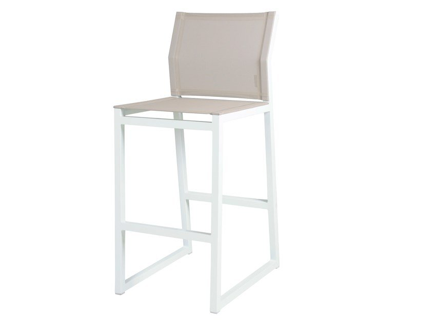 Sled base aluminium counter stool with footrest ALLUX | Bar Chair - MAMAGREEN