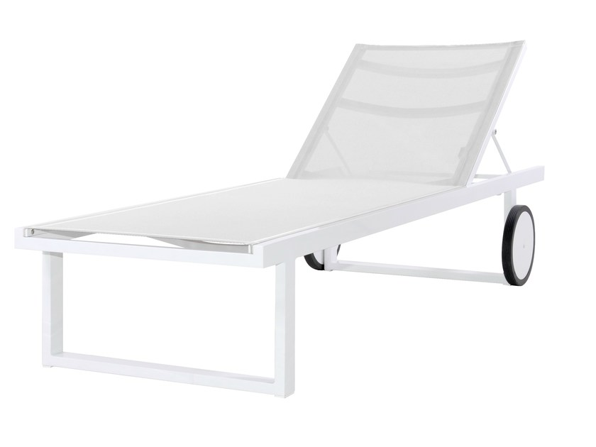 Aluminium garden daybed with Casters ALLUX | Lounger - MAMAGREEN