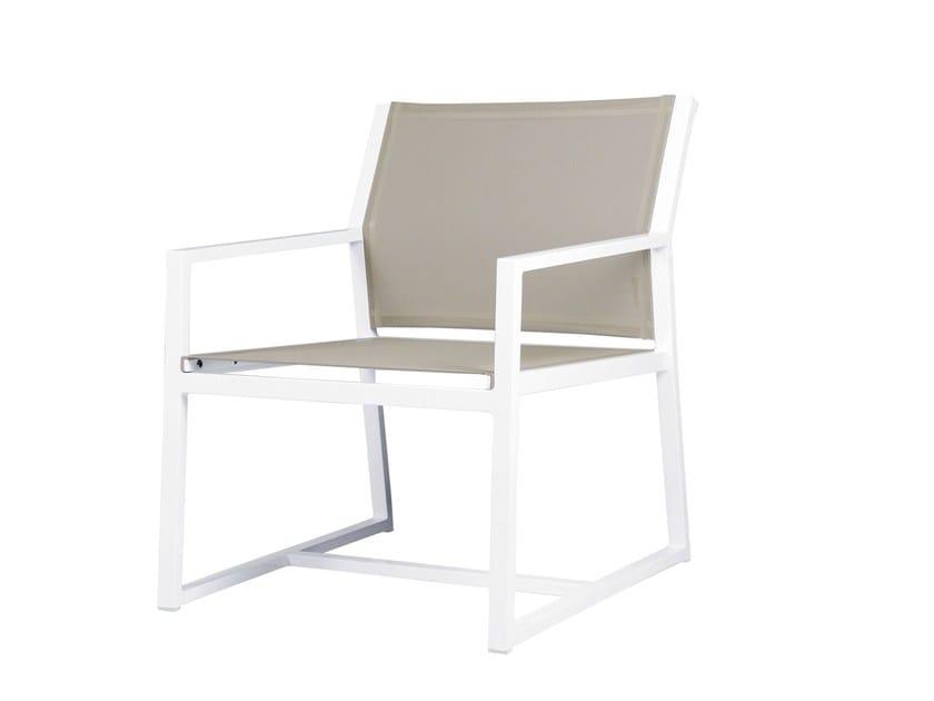 Sled base aluminium garden armchair with armrests ALLUX   Casual Chair - MAMAGREEN