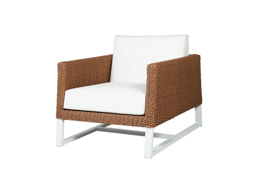 Sled base upholstered garden armchair with armrests BAIA | Garden armchair - MAMAGREEN