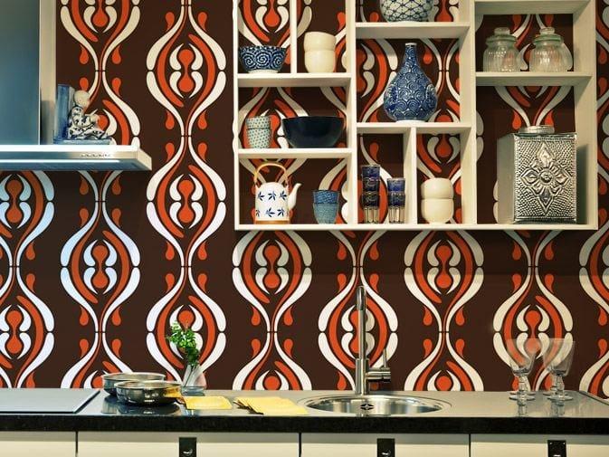 Motif vinyl wallpaper CURVES by GLAMORA