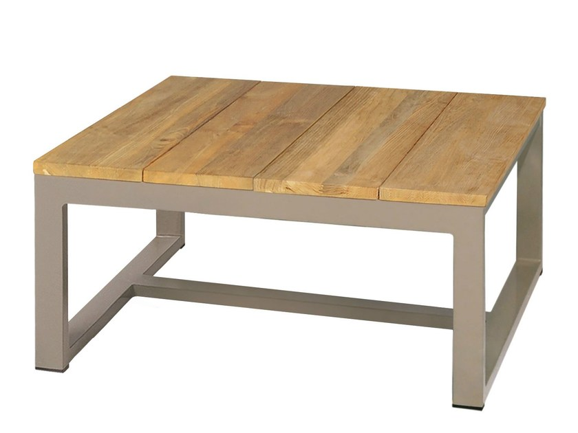 Square aluminium and wood coffee table MONO Coffee Table 73x73 cm by MAMAGREEN
