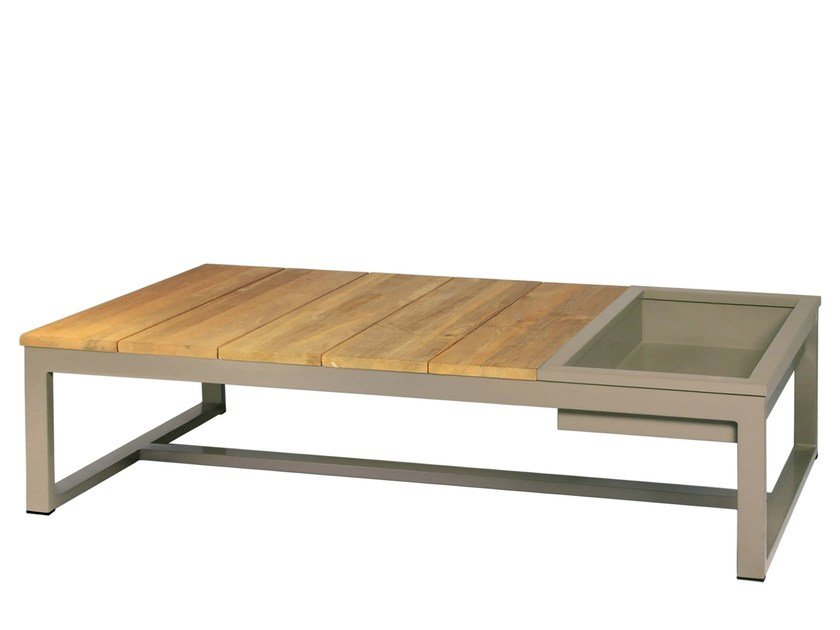 Rectangular aluminium and wood garden side table with ice bucket MONO Coffee Table w ice bin&lid 150X73 by MAMAGREEN