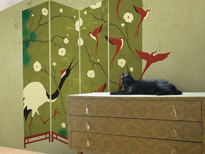Washable vinyl wallpaper CHINA CRANE by GLAMORA