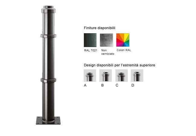 Aluminium bollard post with base plate MARTE Ø 102 MM | Aluminium bollard by Lazzari
