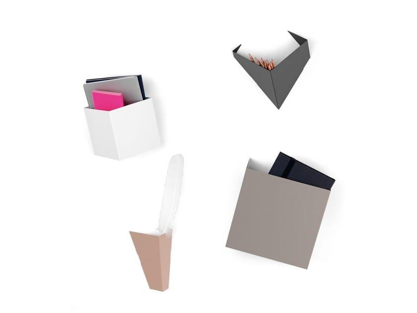 Powder coated steel magazine rack / pen holder SLICE - Schönbuch