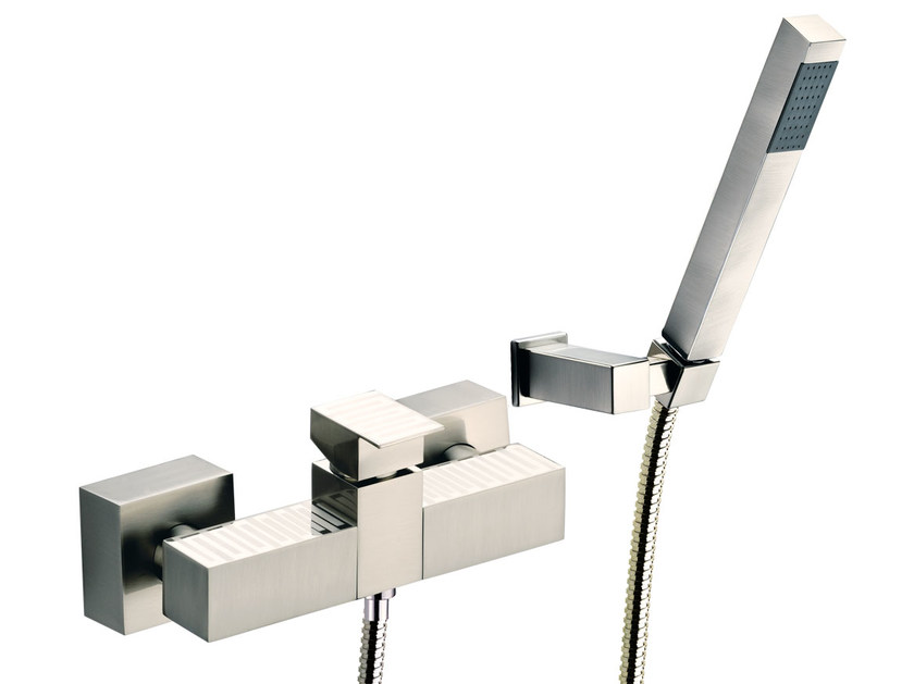 Wall-mounted single handle bathtub mixer with hand shower SKYLINE DEKORA | Bathtub mixer with hand shower - Daniel Rubinetterie