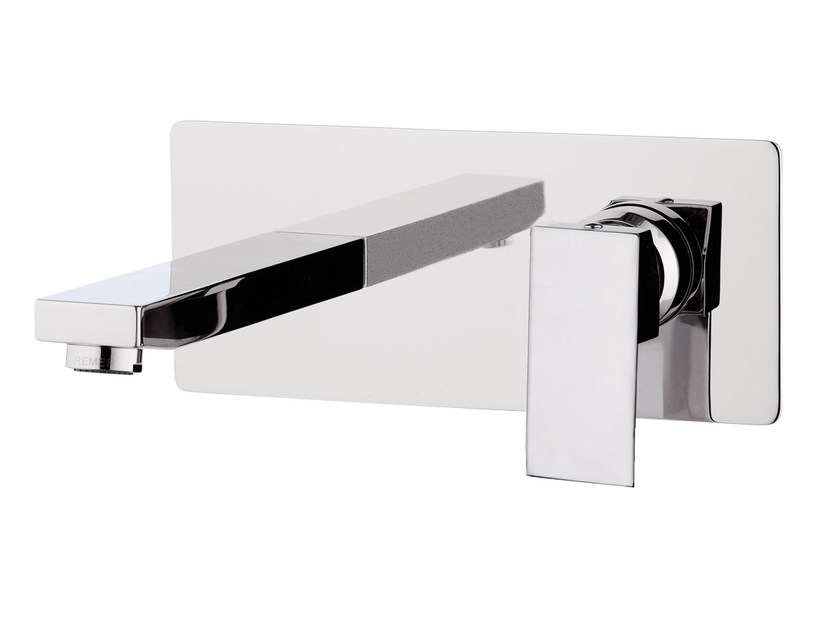 Contemporary style wall-mounted chrome-plated metal washbasin mixer with plate SKYLINE | Wall-mounted washbasin mixer - Daniel Rubinetterie