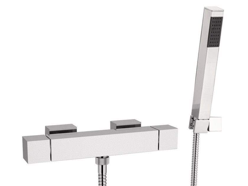 Chrome-plated thermostatic shower mixer with hand shower SKYLINE | Thermostatic shower mixer with hand shower - Daniel Rubinetterie