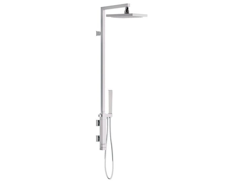 Wall-mounted thermostatic chromed brass shower panel with hand shower SKYLINE   Thermostatic shower panel - Daniel Rubinetterie