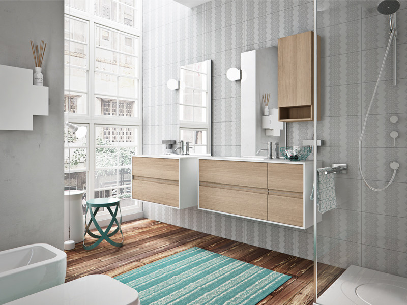 Wall-mounted oak vanity unit with drawers CLOE 21-22 by Edoné by Agorà Group