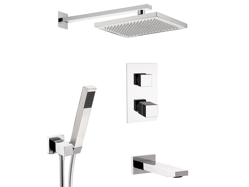 Chromed brass thermostatic shower mixer with overhead shower SKYLINE | Thermostatic shower mixer - Daniel Rubinetterie