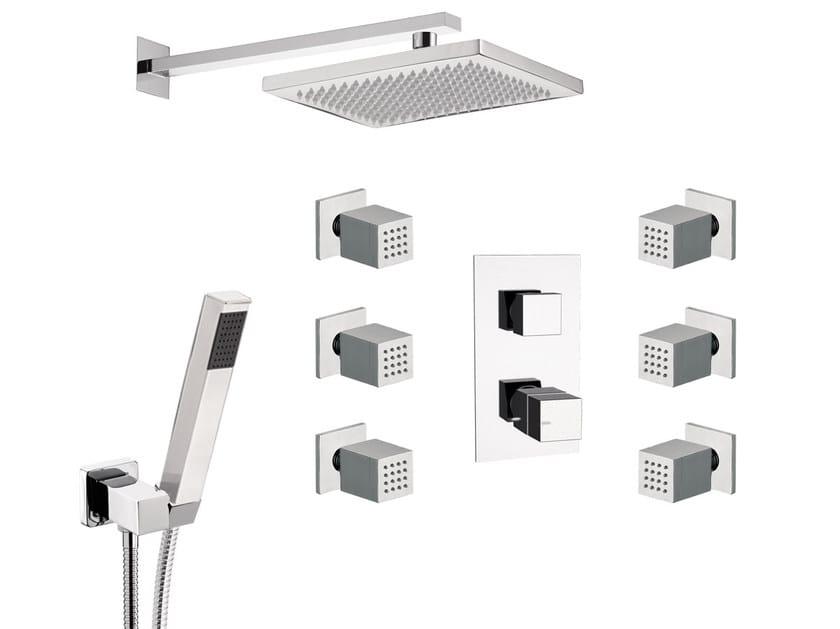 Thermostatic built-in chromed brass shower panel with hand shower SKYLINE | Thermostatic shower panel - Daniel Rubinetterie
