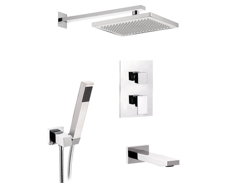 Chromed brass shower mixer with diverter with hand shower SKYLINE | Chromed brass shower mixer - Daniel Rubinetterie