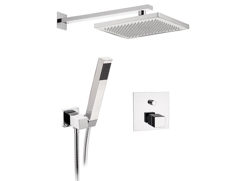 Chromed brass shower mixer with overhead shower SKYLINE | Shower mixer by Daniel Rubinetterie