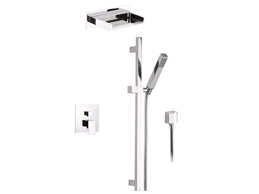 Chromed brass shower wallbar with hand shower with mixer tap SKYLINE | Shower wallbar with hand shower - Daniel Rubinetterie