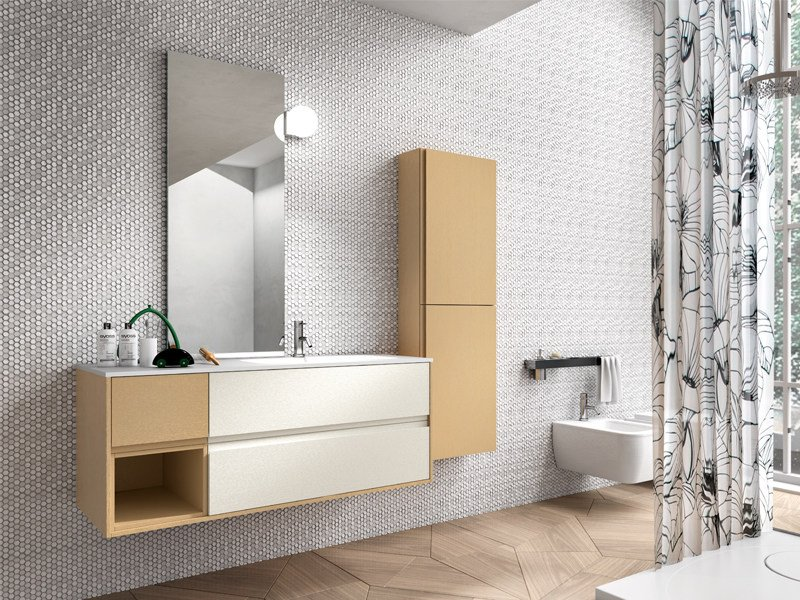 Lacquered wall-mounted vanity unit with cabinets CLOE 36 by Edoné by Agorà Group