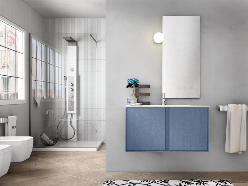 Wall-mounted vanity unit with mirror CLOE 24 - Edoné by Agorà Group