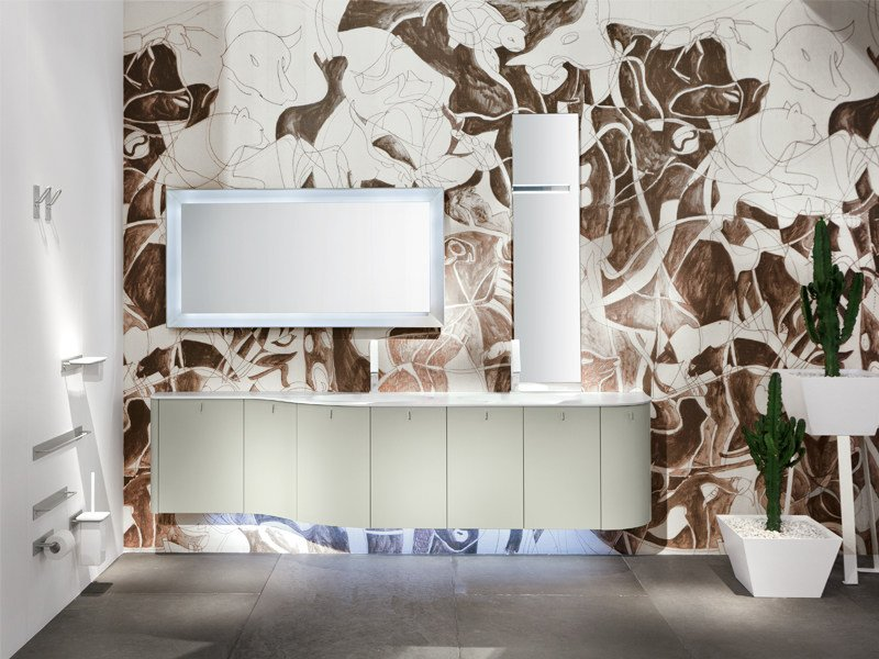 Double wall-mounted vanity unit with mirror GIUNONE 280 by Edoné by Agorà Group