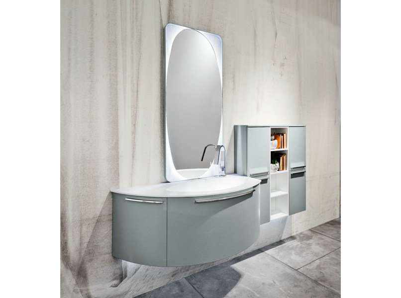 Lacquered wall-mounted vanity unit with mirror GIUNONE 02 - Edoné by Agorà Group