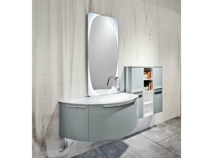 Mobile lavabo laccato sospeso con specchio giunone 02 by edon by agor group design marco bortolin - Agora mobili bagno ...