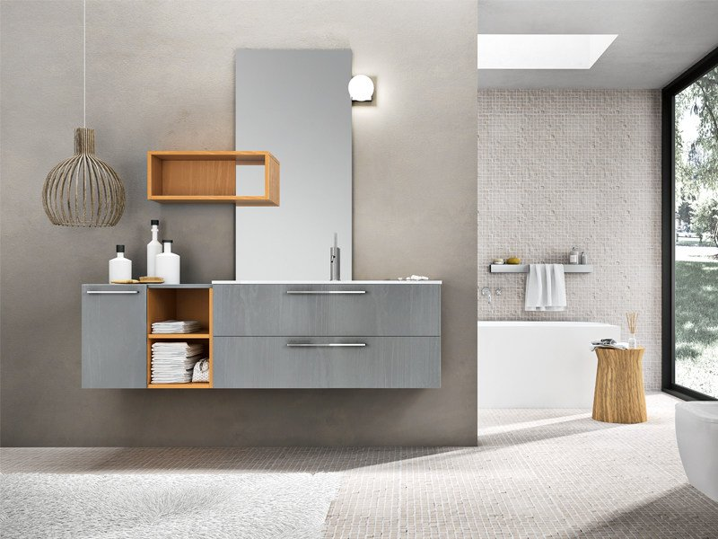Lacquered wall-mounted vanity unit with mirror KYROS 07 - Edoné by Agorà Group
