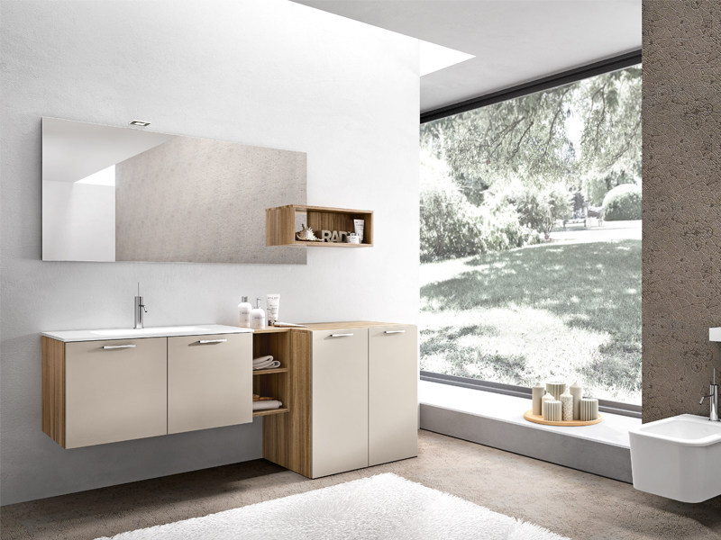 Lacquered wall-mounted vanity unit with cabinets KYROS 09 - Edoné by Agorà Group