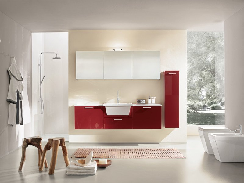 Lacquered wall-mounted vanity unit with mirror MINERVA 323 - Edoné by Agorà Group