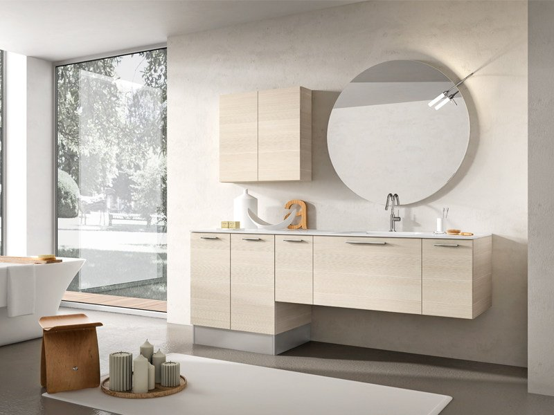 Wall-mounted vanity unit with mirror MINERVA 331 - Edoné by Agorà Group
