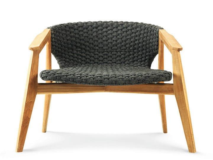Teak garden armchair with armrests KNIT | Armchair - Ethimo