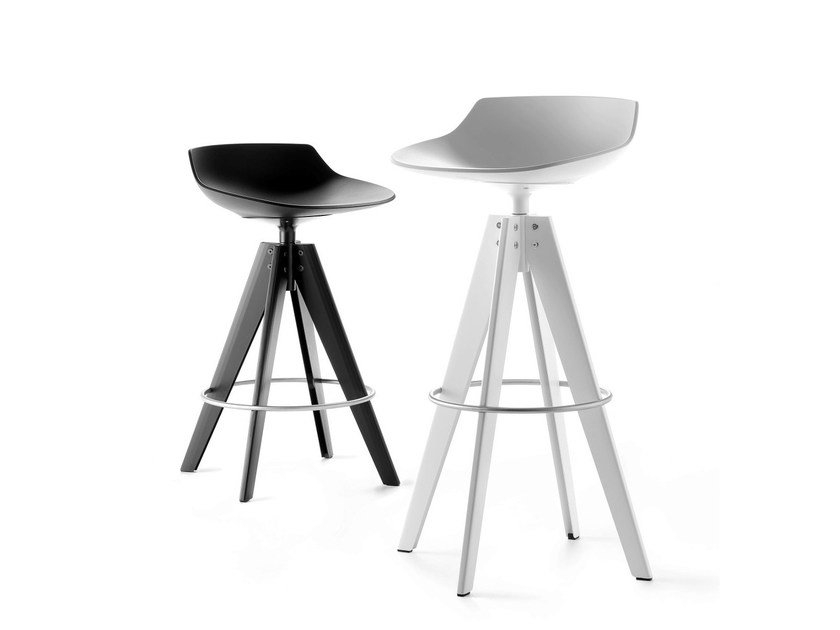 High swivel trestle-based stool FLOW STOOL | High stool - MDF Italia