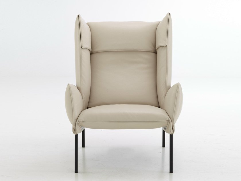Upholstered fabric armchair with armrests BEAU FIXE | Armchair - ROSET ITALIA