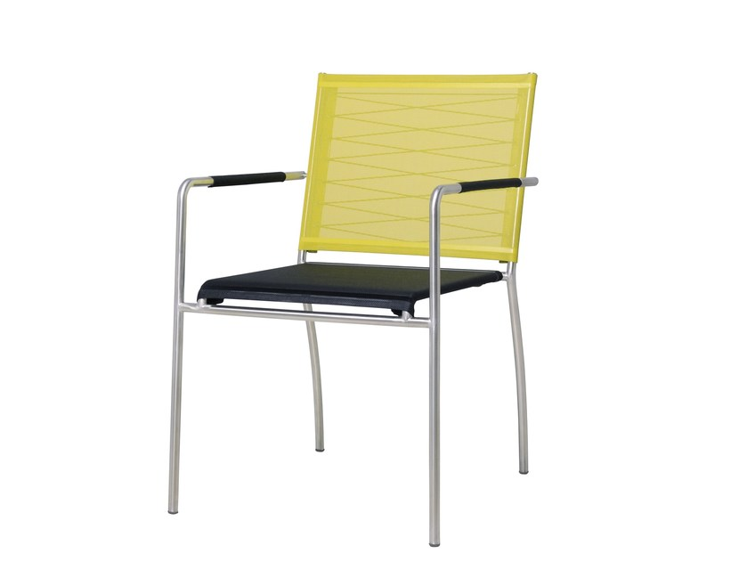 Stackable stainless steel garden chair with armrests NATUN Stacking Armchair by MAMAGREEN