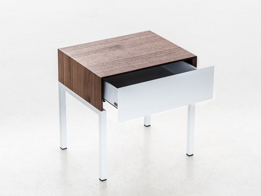 Lacquered walnut bedside table MAYA | Bedside table by iCarraro