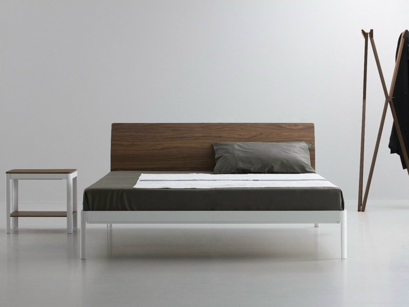 Aluminium and wood double bed PLANE | Double bed by iCarraro