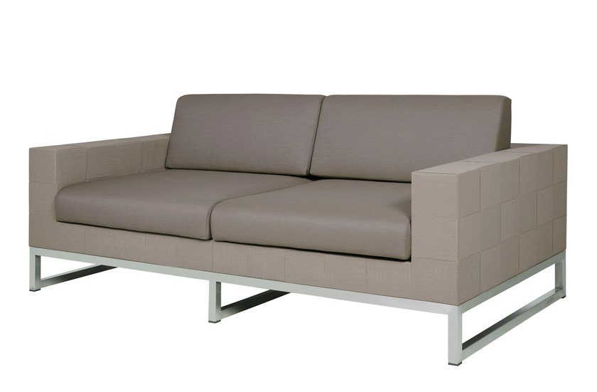 2 seater sled base Sunbrella® garden sofa QUILT | 2 seater sofa - MAMAGREEN