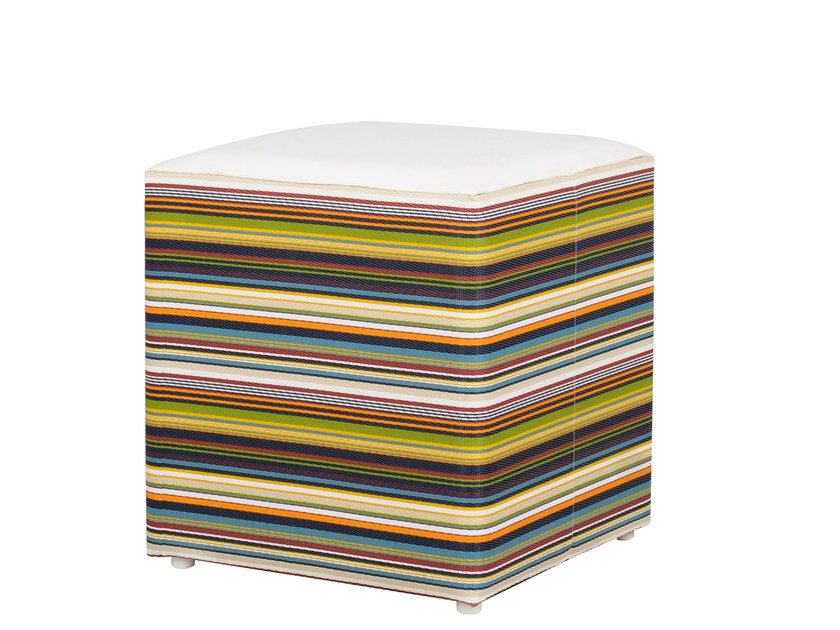 Upholstered fabric garden pouf STRIPE | Upholstered pouf - MAMAGREEN
