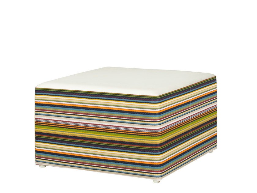 Upholstered fabric garden pouf STRIPE Ottoman by MAMAGREEN