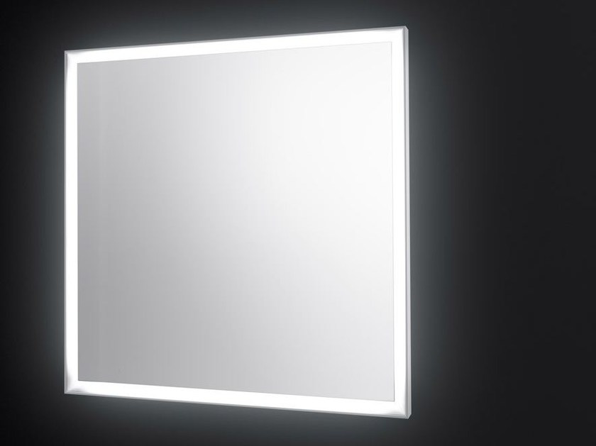 Square wall-mounted mirror with integrated lighting SP14 | Square mirror - Boffi