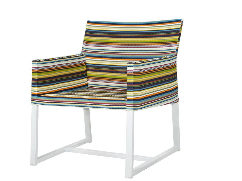 Sled base garden armchair with armrests STRIPE | Sled base easy chair - MAMAGREEN