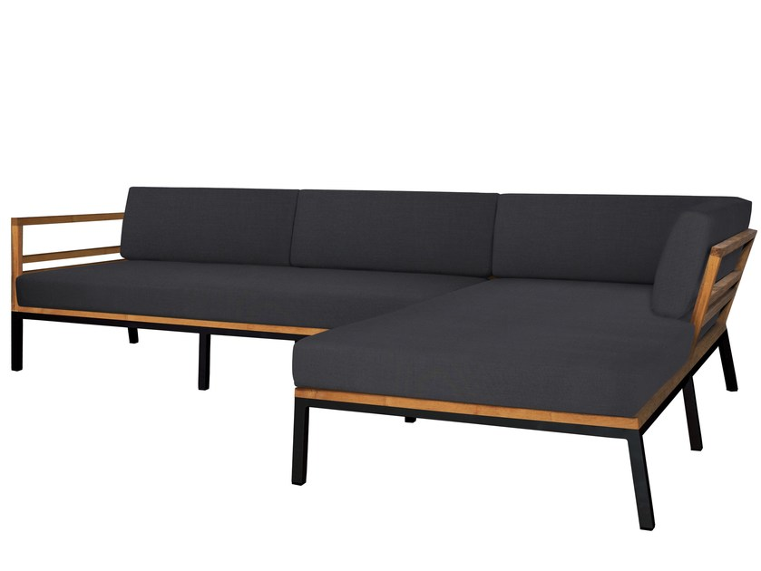 Corner Sunbrella® garden sofa with chaise longue ZUDU | Sofa with chaise longue - MAMAGREEN