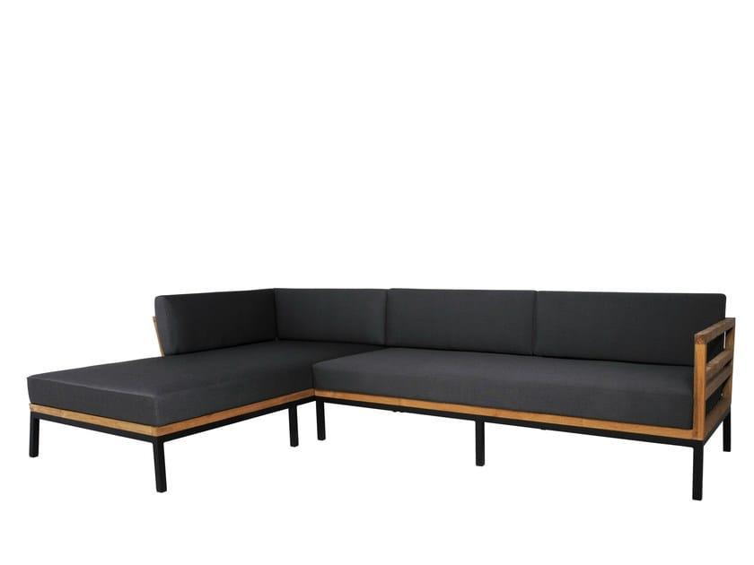 Corner Sunbrella® garden sofa with chaise longue ZUDU | Corner sofa - MAMAGREEN