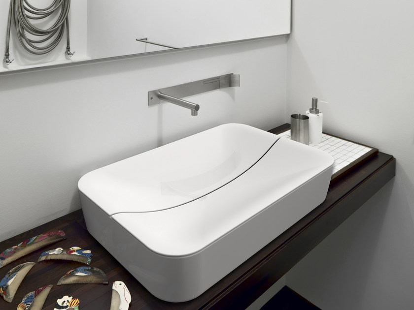 Countertop rectangular ceramic washbasin MIZU | Rectangular washbasin - Scarabeo Ceramiche