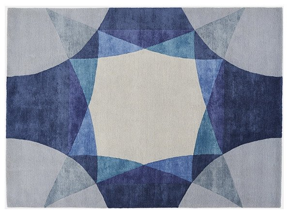 Rectangular rug with geometric shapes SAPPHIRE by Deirdre Dyson