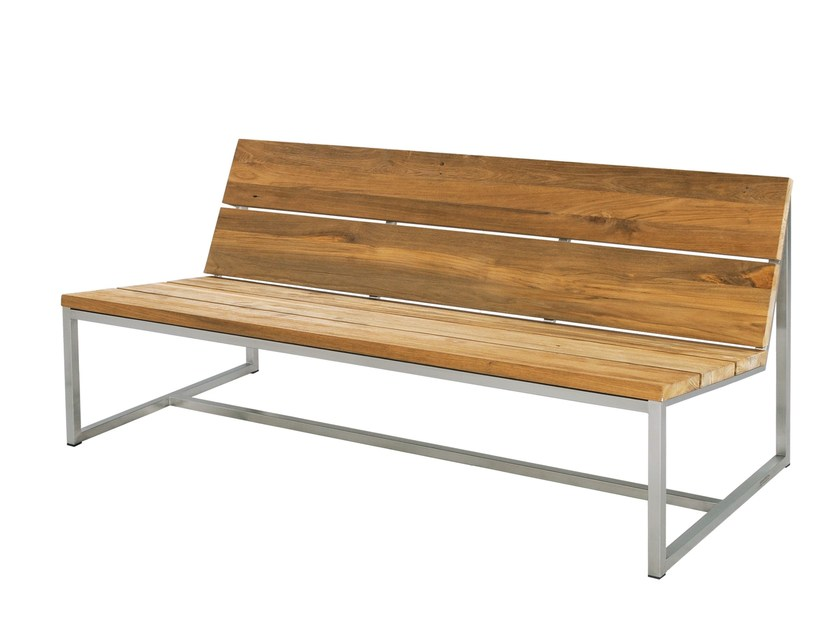 Stainless steel and wood garden bench with back OKO | Garden Bench 150 cm - MAMAGREEN