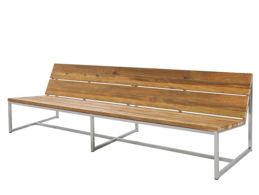 Stainless steel and wood garden bench with back OKO | Garden Bench 235 cm - MAMAGREEN