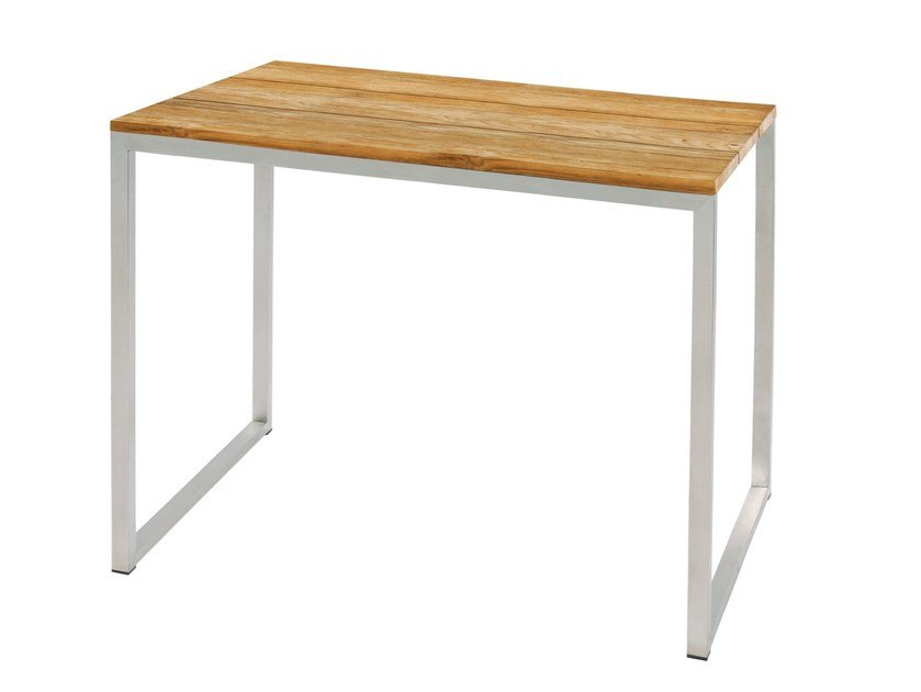 Rectangular stainless steel and wood high table OKO | High table - MAMAGREEN