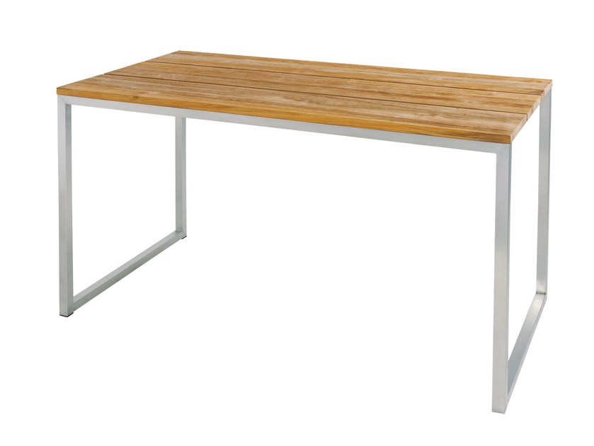 Stainless steel and wood high table OKO | Contract table - MAMAGREEN
