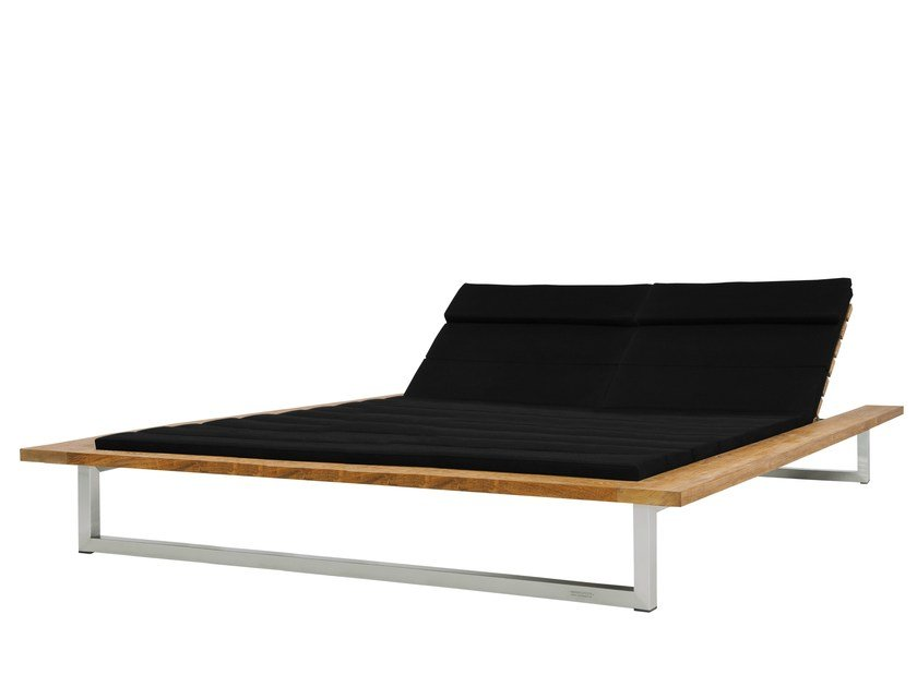 Double stainless steel and wood garden daybed OKO | Double garden daybed - MAMAGREEN