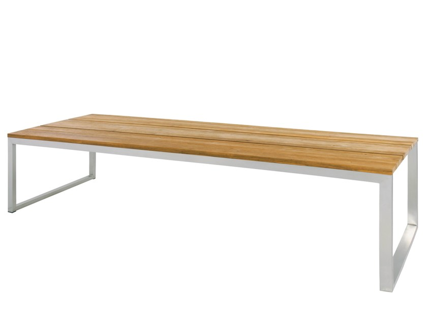 Rectangular stainless steel and wood garden table OKO   Table 300x100 cm - MAMAGREEN